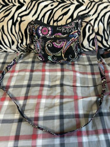 Womens Vera Bradely Black With Pink Green White Orange Crossbody Bag Purse