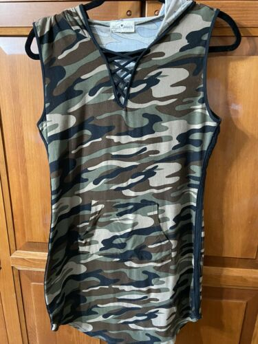 Derek Heart Jr Camouflage Sleeveless Hooded Dress Sz L