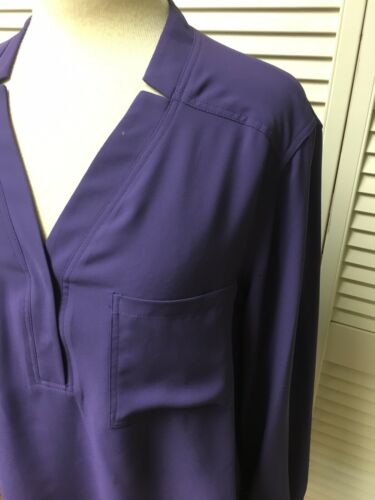 Nine West Women's Size Large Purple Long Sleeve Blouse V-Neck W/ Buttons NWT