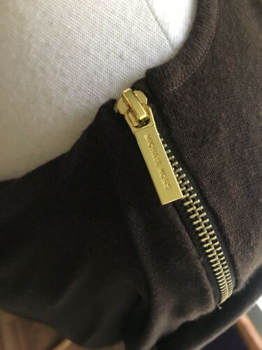 Michael Kors Women's Size Large Brown Long Sleeve Sweater W/ Zippers Scoop Neck