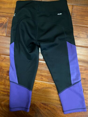 Women's Adidas Capri Yoga Climalite Pants Black & Purple Sz S