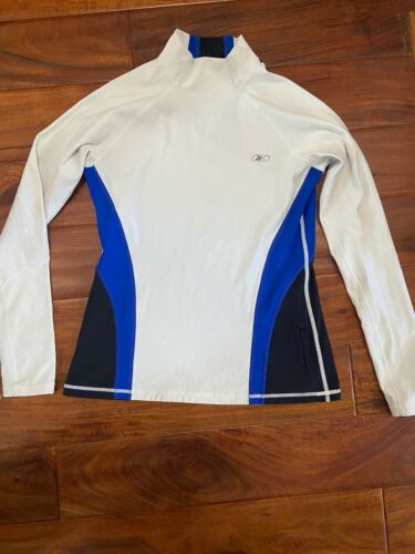 Womens Reebok White Blue White Mock Neck Long Sleeve Exercise Top Sz M