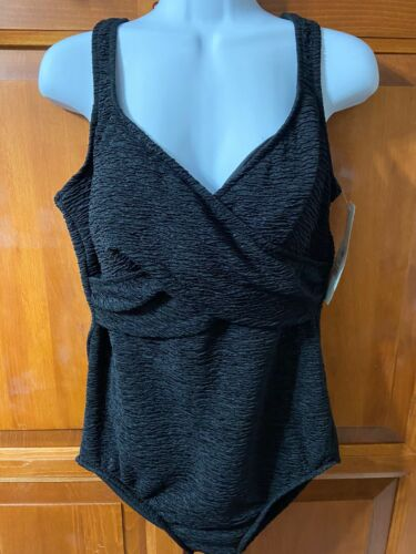 Women's Penbrooke Swimsuit One Piece Black Tummy Control Sz 18w