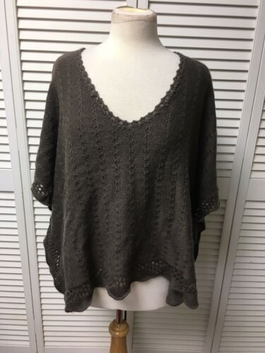 Debbie Morgan Women's Size Large Brown Sweater Flowy Short Sleeves