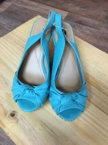 Apt. 9 Womens Size US 7.5 Teal Blue Wedges Open Toe Buckle Around Ankle