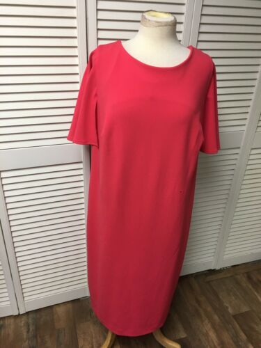 Calvin Klein Women's Size 20W Pink Dress Short Flowy Sleeves Zipper In Back NWT