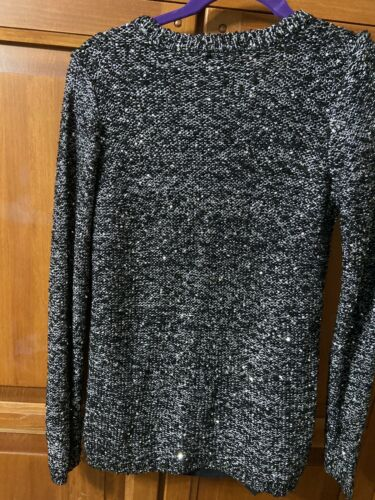 Apt9 Sweater Embellished Sequined Black Silver Sz Small