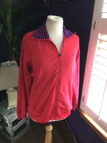 Nike Dri Fit Women's Size Medium Red Zip Up Jacket Long Sleeves W/ Pockets