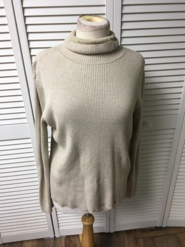 Lauren Ralph Lauren Women's Size XL Beige Turtleneck Sweater Long Sleeves