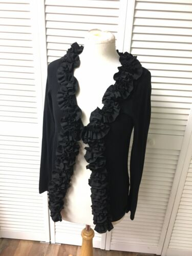 Belldini Women's Sz M Black Long Sleeve Cardigan Sweater Ruffles Clasps Closure