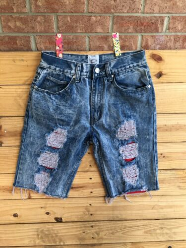 Encrypted Juniors Size 16 Denim Blue Jean Bermuda Shorts Distressed Style