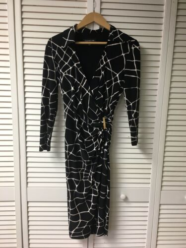 Jones New York Women's Size 6 Black And White Long Sleeve Dress V-Neck W/ Collar
