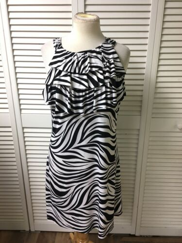 Enfocus Studio Juniors Size 12 Zebra Print Sun Dress Sleevess W/ Ruffles At Top