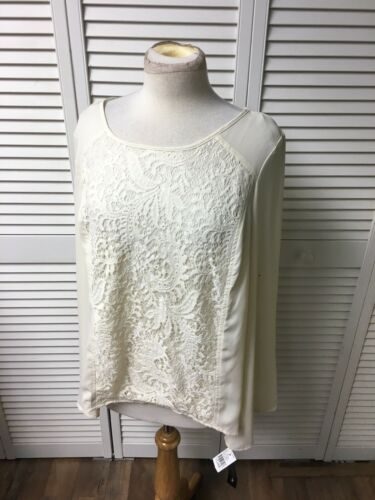 AB Studio Women's Size XL Cream Colored Long Sleeve Blouse Lace Cover Front NWT