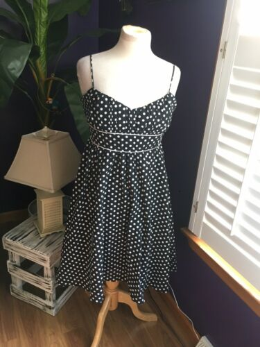 Forever 21 Women's Size Large Black Dress W/ White Polka Dots Spaghetti Straps