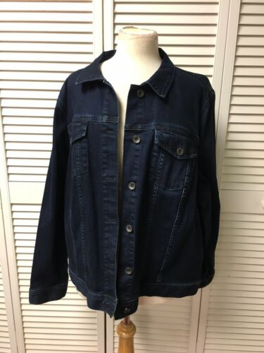 Lands End Women's Size 3X 24W-26W Denim Blue Jean Jacket NWT