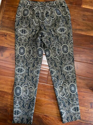 Women's Perse Pants Lined Side Zipper Black/Gold Sz 6