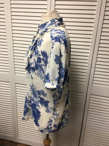 Apt. 9 Women's Size XL Short Sleeve Button Down W/ Ruffles Ivory W/ Blue Floral