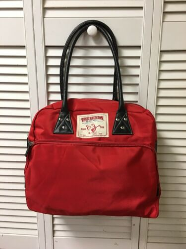 True Religion Red Bag Multiple Pockets With Zipper Closures Black Handles
