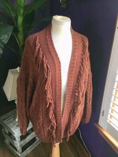 American Eagle Women's Size Medium Brown Sweater Open Front With Fringes NWT