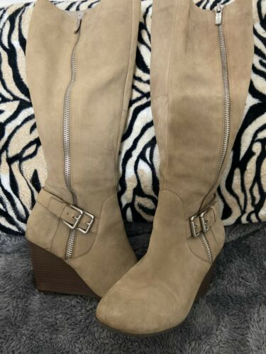 Bcbgeneration BCBG Wimens Knee High Boots Zipper Suede Tan Sz 9/39