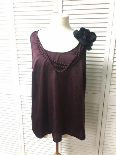 Ann Taylor Loft Women's Size L Sleeveless Blouse Plum Color W/ Black Flower NWT