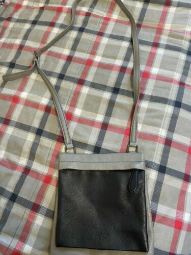 Womens Perlina New York Grey Black Crossbody Purse