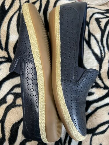 Womens Navy Blue Espadrille Leather Flats Sz 8