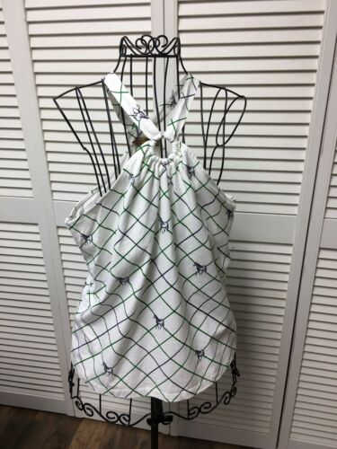 Aura Women's Size Large Blouse W/ Ring At Neckline Green Stripes And Horses