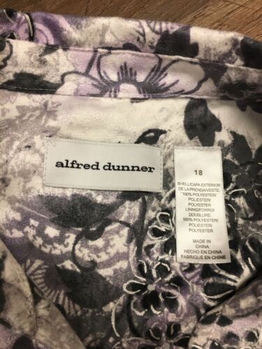 Alfred Dunner Women's Size 18 Grey Purple Floral Button-Down Blouse Soft Feel