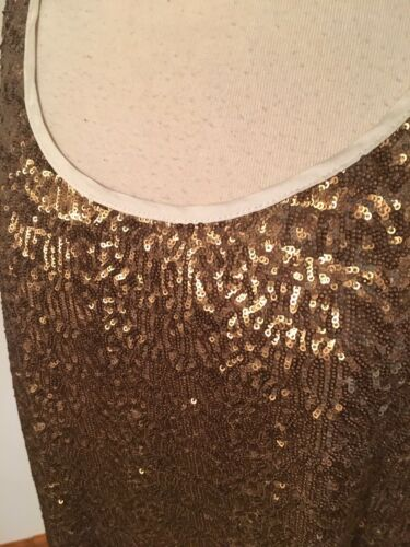 A.N.A. Women's Size 1X Tank Top Gold Sequins Front Solid White Back