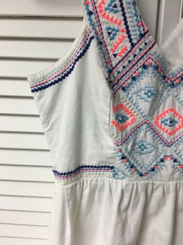 American Eagle Women's Size 2 White Dress With Multicolor Embroidered Straps