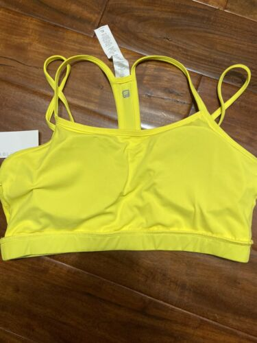 Womens Fabletics Bright Yellow Work Out Padded Athletic Bra Sz Xl