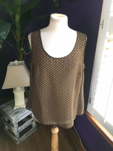 Emma & James Women's Size 16W Brown And Beige Patterened Tank Top Blouse