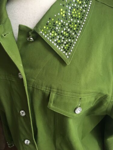 Quacker Factory Women's Size Large Green Jacket W/ Buttons And Gemstones