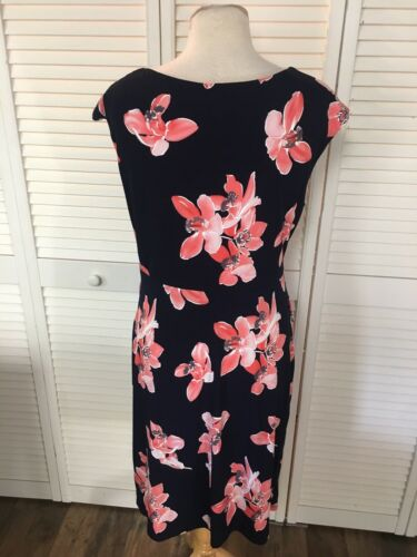 Connected Apparel Women's Size 14 Floral Dress W/ Cap Sleeves Business Casual