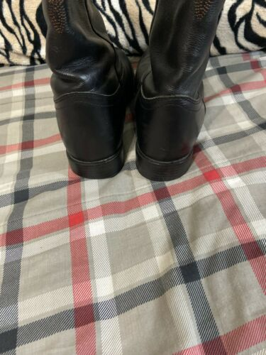 Mens Black Leather Cowboy Boots Sz 7EE Wide