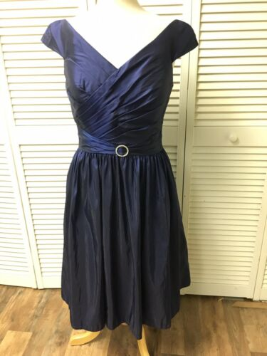 Alyce Designs Women's Size 12 Navy Blue Dress Cap Sleeves Flowy Bottom Pleated