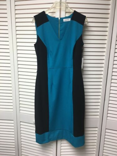 Calvin Klein Women's Size 4 Blue And Black Dress Sleeveless Zipper In Back NWT