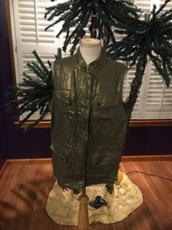 Chico's 2 Women's Vest Green Metalic Style