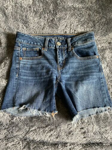 Womens American Eagle Jean Cut Off Shorts Sz 0