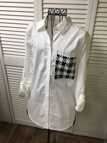 Michael Kors Women's Size Small White Long Sleeve Button Down Blouse W/ Sequins