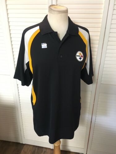 NEW Men's Sz M NFL Team Apparel Steelers Polo Shirt W/ Collar, Short Sleeves NWT