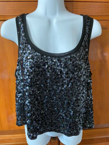 Women's Express Sequin Tank Top Black Sz M