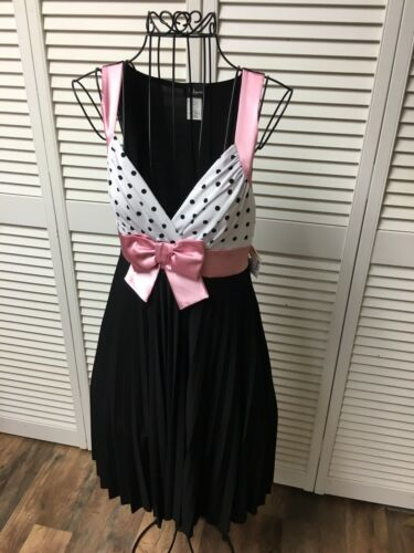 Taboo Juniors Sz M Babydoll Dress Pink Bow At Waist Black Flowy Bottom NWT