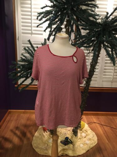 St. John's Bay Women's Size XL Red And White Striped Shirt Short Sleeves