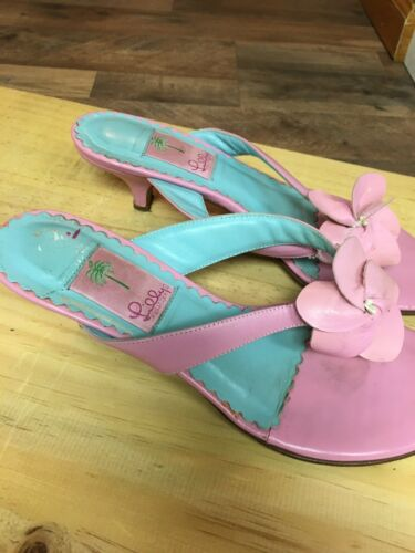 Lily Pulitzer Women's Size US 8.5 Heeled Flip Flop Sandal W/ Pink Flower