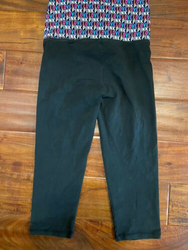 Womens Pink Logo Black Exercise Yoga Pants Sz Xs