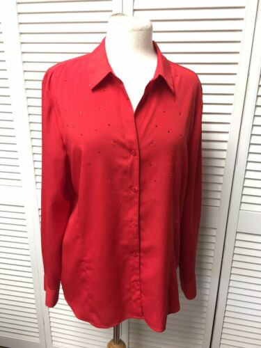 Anne Klein Women's Size XL Red Long Sleeve Button Down Blouse W/ Gemstones