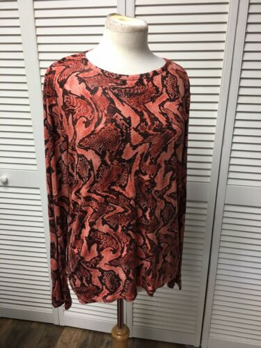 Michael Kors Women's Size Large Long Sleeve Blouse Snakeskin Style Pattern